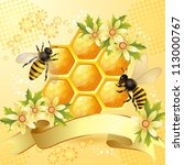 Background With Bees  Honeycom...