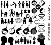 Collection of human related icons - stock photo