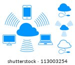 Cloud computing icons - stock photo