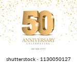 anniversary 50. gold 3d numbers.... | Shutterstock .eps vector #1130050127