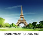 sunny morning and eiffel tower  ...   Shutterstock . vector #113009503