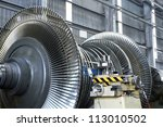Steam turbine at workshop - stock photo