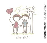 love card with boyfriend in the ... | Shutterstock .eps vector #113010757