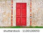 old red wood door vintage and... | Shutterstock . vector #1130130053