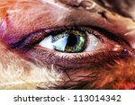 macro pupil color green eye photo close up - stock photo