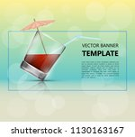 glass cold drink alcohol  ... | Shutterstock .eps vector #1130163167