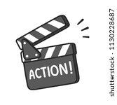 lights  camera  action  film...   Shutterstock .eps vector #1130228687