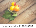 organic apricots on rustic... | Shutterstock . vector #1130263337