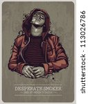 Smoker grunge image. Vector illustration. - stock vector