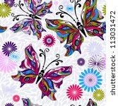 Floral seamless pattern with colorful butterflies and gray drops (vector) - stock vector