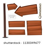 wooden signs isolated on white... | Shutterstock .eps vector #1130349677
