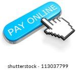 Blue button PAY ONLINE and hand cursor isolated on white - stock photo