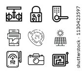 outline set of 9 technology... | Shutterstock .eps vector #1130423597