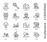 set of 16 icons such as iceberg ...