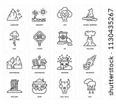 set of 16 icons such as hail ...