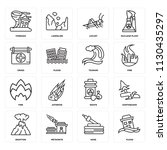 set of 16 icons such as flood ...   Shutterstock .eps vector #1130435297