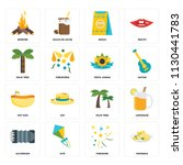 set of 16 icons such as pamonha ...