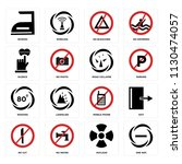 set of 16 icons such as one way ...