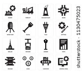 set of 16 icons such as control ...
