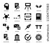 set of 16 icons such as atomic...