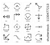 set of 16 icons such as curved...