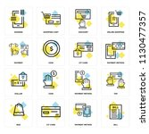 set of 16 icons such as bill ...