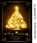 warmly sparkling christmas tree ... | Shutterstock .eps vector #113049973