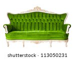 Vintage luxury Green sofa Armchair isolated on white background with Clipping path - stock photo
