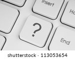 Question button on the keyboard - stock photo