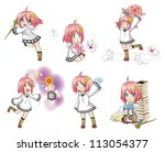 White Witch Collection set 2. Series of cute little witch with her activities. - stock vector