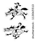 horse riders girl and boy... | Shutterstock .eps vector #113065513