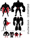 Superhero Silhouette: 4 different superhero silhouettes in 2 versions each.
