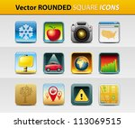 vector set of 12 rounded square icons - stock vector