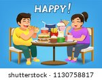 people have very happy eating... | Shutterstock .eps vector #1130758817
