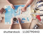 travel planning concept on map | Shutterstock . vector #1130790443