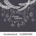 christmas background with cute... | Shutterstock . vector #113082583