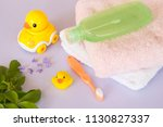 toothbrush bath towel and... | Shutterstock . vector #1130827337