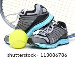 tennis sports equipment white background - stock photo