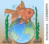 a goldfish floating above the... | Shutterstock .eps vector #1130888993