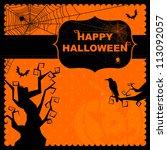 happy halloween greeting card   Shutterstock .eps vector #113092057