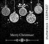 vintage card with christmas... | Shutterstock .eps vector #113094337