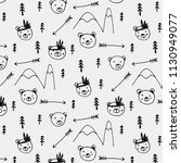 hand drawn cute bear tribal... | Shutterstock .eps vector #1130949077