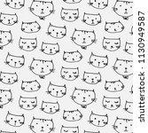 hand drawn cute cats pattern... | Shutterstock .eps vector #1130949587