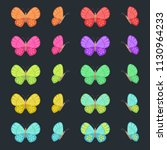 colored butterflies isolated on ... | Shutterstock .eps vector #1130964233