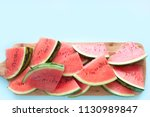 fresh watermelon slices on... | Shutterstock . vector #1130989847