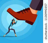 big foot stepping on business...   Shutterstock .eps vector #1130990357