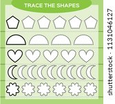 trace the shapes. kids... | Shutterstock .eps vector #1131046127