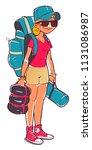 young woman tourist. cartoon... | Shutterstock .eps vector #1131086987