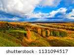 autumn river valley village... | Shutterstock . vector #1131094517