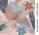 silk scarf design with flowers... | Shutterstock .eps vector #1131113663